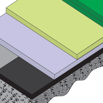 Synthetic grass rubber/acrylic surface layers